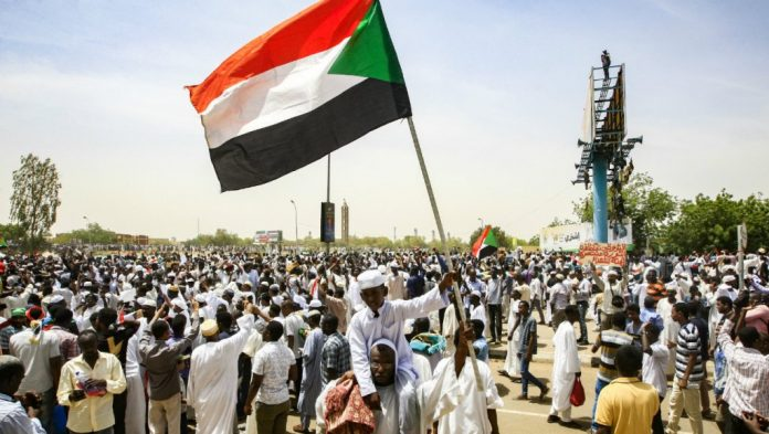 Protesters in the streets of Sudan