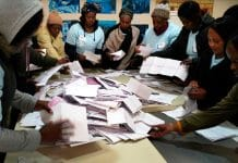 Electoral commission agents start counting the votes in Wednesday May 8, 2019 general elections in Johannesburg, South Africa