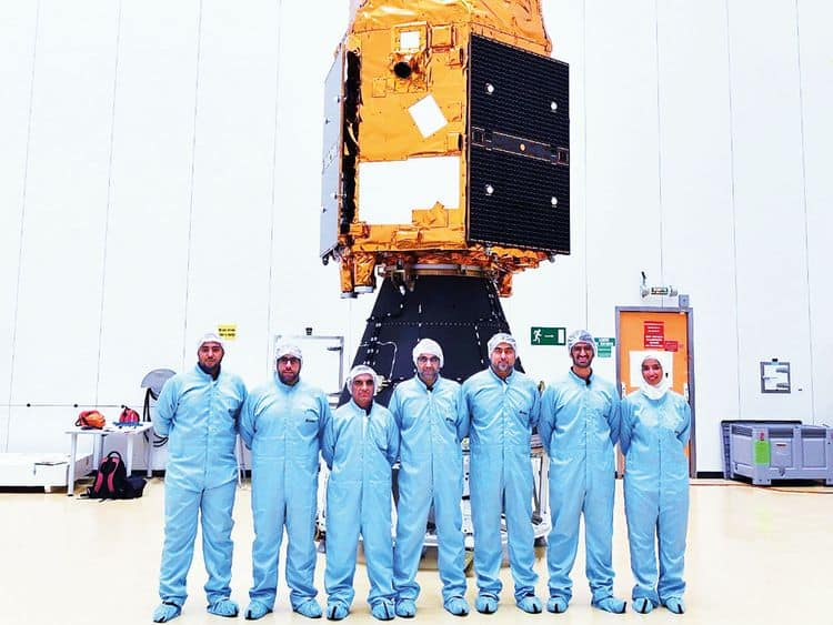 UAE scientists' team with Falcon Eye 1 preparing for launch.
